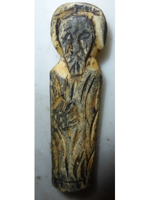 Long bone sculpture of an apostle, or Jesus like image from the Byzantine period, H 3.2, ca 400 AD.