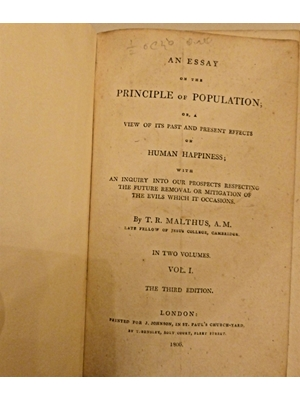 An Essay on the Principle of Population; or, A View of its past and present Effects on Human Happiness, T R Malthus, Volume 1, Third Edition, 1806, modern binding, good condition,