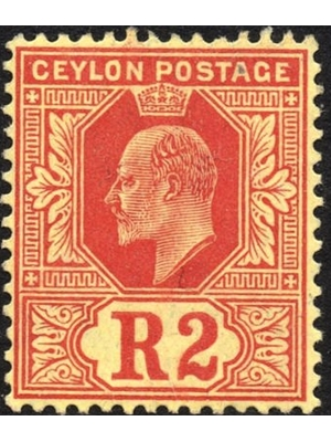 Ceylon. 1910. King Edward VII. 2 Rupees. red, Mint,