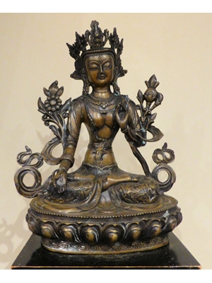 "Large 19th Century intricately sculptured bronze of Green Tara, H 14.8"" W 12.0"""