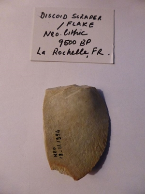 Stone Age Implement, Discoid Scraper from neolithic period, La Rochelle, France, ca 9500 BP