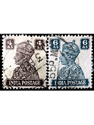 India King George VI, 4 annas and 6 annas 1940 -1942 2 stamps used