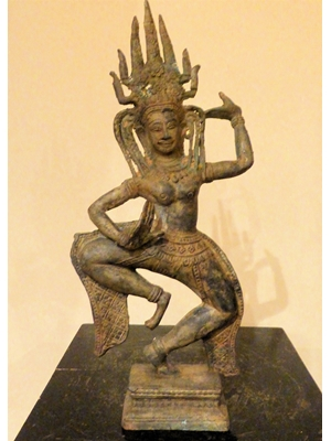 Khmer bronze of Apsara, the dancing celestial nymph, the hall mark of Angkor Vat culture, bronze, H 12.7, ca 19h century or probably earlier