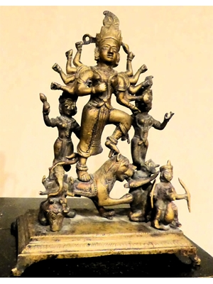Mahesasuramardini with a pantheon of Hindu Gods and Goddess , South Indian bronze, ca 16th - 18th century