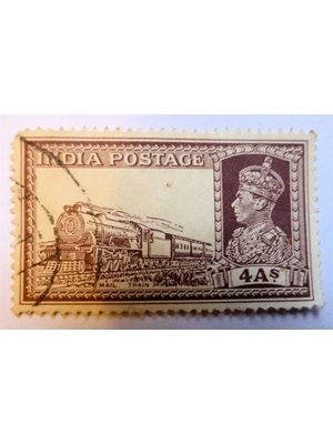 India King George VI 4 annas mail train brown 1937-1940 used