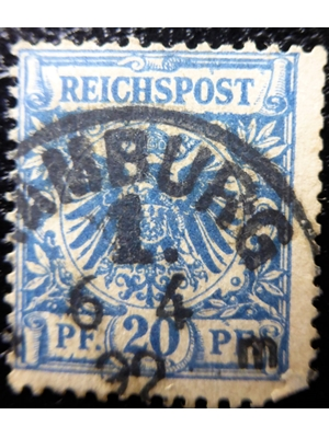 German Empire, Reich Post, 20 PF, Blue, used in Hamburgh, 1889- 1892