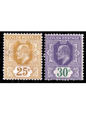 Ceylon, King Edward VII, set of 2 stamps 25 C and 30 C, 1905 mint