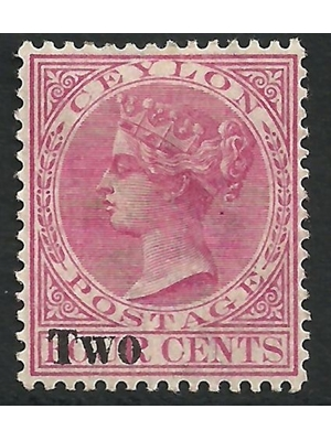 Ceylon Queen Victoria Rosy Mauve Two on Four overprint surcharge 1884 MINT