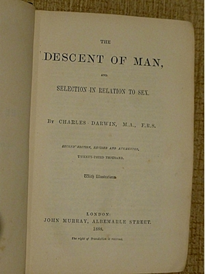 The Descent of Man and Selection in relation to Sex, Charles Darwin, 1888, John Murray, London, good copy