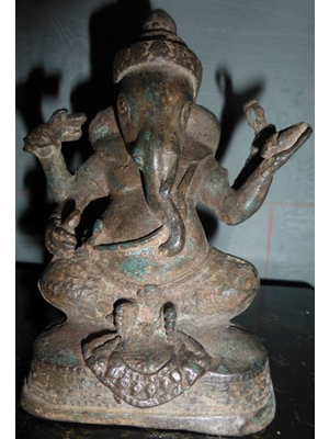 Four armed crowned Ganesh, Khmer bronze  from Angkor Vat  Pre-Buddhist period H 5.2 ca 800-1200 AD or later