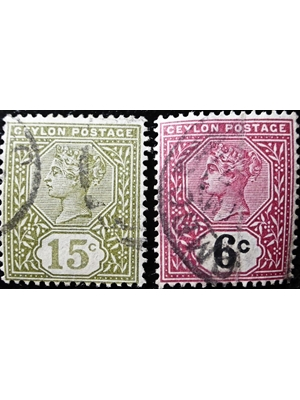 Ceylon, QV, 15 & 6 Cents, Set of 2 stamps, postage,1886 used fine