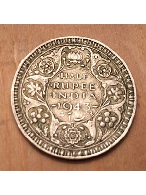 George VI, British India Half Rupee, .500 Silver Coin 1943