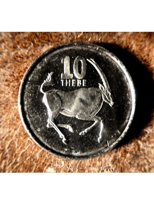 Botswana  10 Thebe  nickel-steel coin 1998 uncirculated Theme; Wild Life, uncirculated coin First Year of release