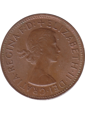 Australia Elizabeth II 1st Portrait Large 30 mm Penny Coin 1962 Theme: Wild Life: Kangaroo  high grade
