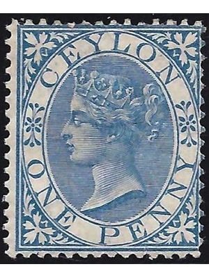 Ceylon Queen Victoria One Penny Prussian Blue 1867 MINT