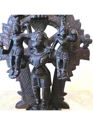 "Hanuman (Hahnuman) carrying Sita and Rama in the legend Ramayana 7.2"" high 4.0"" width Bronze ca 18th-19th century, detachable areole,"