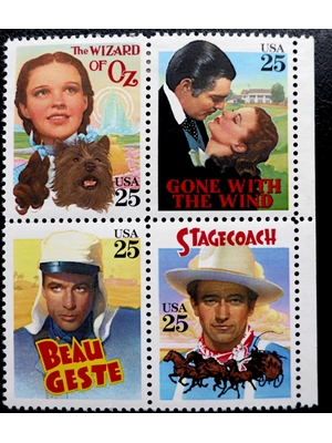 United States, STAGECOACH ~ Hollywood, GONE WITH THE WIND ~ WIZARD OF OZ ~ BEAU GESTEBlock of 4 x 25, ¢ US Postage Stamps