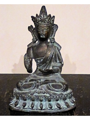 Buddha, Shakyamuni in monks robes and cranial hump in Abhaya-mudra posture.  A Sino- Tibetan Bronze, 6.0, 19t