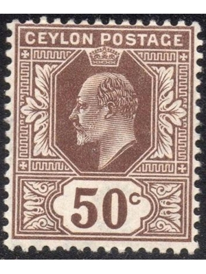 Ceylon 1904 Ed VII Early Issue Fine Mint Hinged 50c Brown