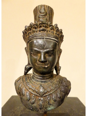 "Fragment ornamented torso of  Shiva with crown from Phnom Trap, Beanteai Srei Style, rare Cambodian bronze, 8.3"" tall with stand, ca 13tth - 14th century"