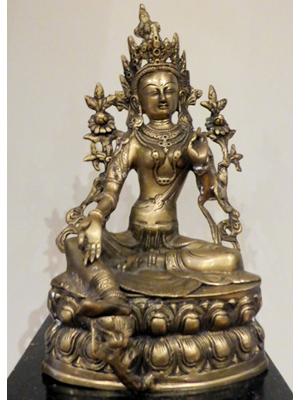 Seated Tara,  female  Bodhisattva Nepalese  Large vey fine bronze    H 14 X W 7,  earlyto 20th century