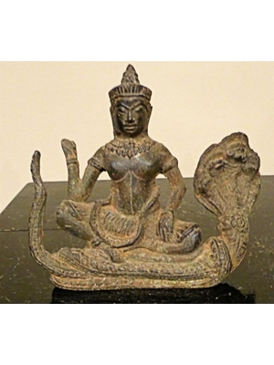 Buddha seated on Naga, Khmer period bronze H 3.95 X 5.9, ca 18th -19th century or possible earlier