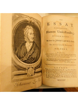 AN ESSAY CONCERNING HUMAN UNDERSTANDING In Four Books, Locke, John, 2 Volumes, foldable plate, 17th Edition, 1775,  rebound,