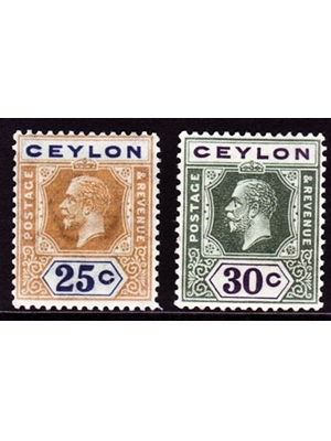 Ceylon, King George V, Set of 2, Postage stamps,  25 and 30 cents, 1919 mounted mint
