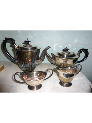 Sheffield Hall marked 4 piece Tea Set Edwardian to 1950s