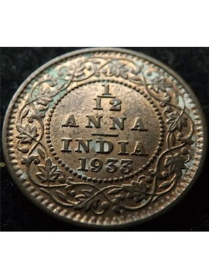 British India, King George V, 1/12 Anna, copper 1933 very fine