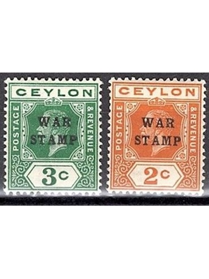 Ceylon, KG V, Set of 2 Stamps, 2 and 3 Cents, purple, War Tax, 1919-1922,