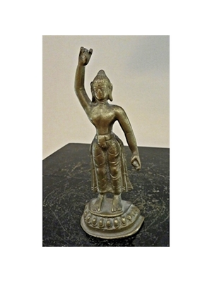 An unusual standing Buddha with his right arm raised in Vitarka mudra, South Indian bronze, H 4.5""
