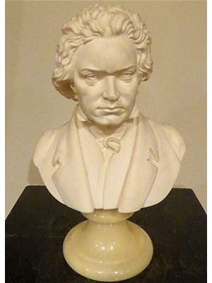 BEETHOVEN BUST ALABASTER ON STENTED ONYX BASE 20th CENTURY