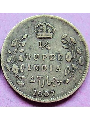 India, King Edward VII, 1/4 Rupee, Silver, 1907 Good grade