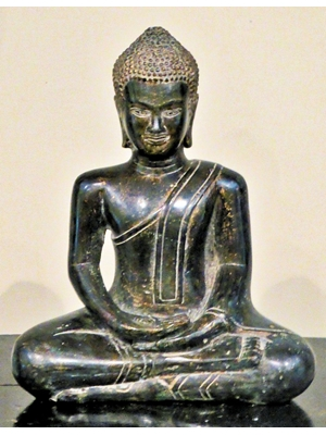Thai Ayodhiya seated bronze Buddha in monastic robes, H 8.75 X W 4.5, 19th century
