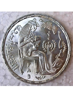 Egypt 1 Pound large 35 mm Silver coin FAO 1979 UNC mintage 48,000
