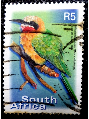 South Africa White-fronted Bee-eater on R5 Stamp, 2000 used
