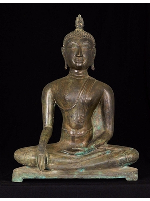 Seated Buddha with his right hand in Bhumisparsa and the other hand in Dhyana mudra, a rare bronze sculpture from Sri Lanka, ca 19th century