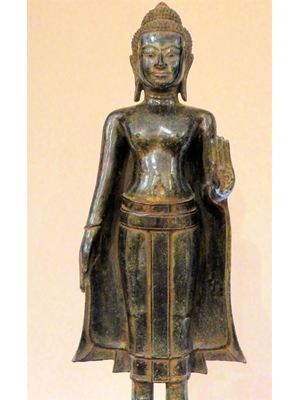 Large standing Ayodhiya Thai bronze Buddha  with his left hand in Abhaya-Mudra posture, 17 inch tall, 19th century