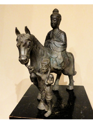 "Buddha on his horse Kanthaka  leaving royal household, a defining moment in his life, 13"" tall, 11.5"" width"