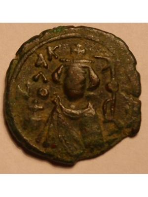 Byzantine, Bronze, Imperial Bust,with cross above crown, reverse middle  M, EMI, CHC ca 680-690 AD near perfect strike