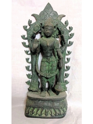 Vishnu, a rare bronze of the deity standing on a double lotus base in a blessing posture, ca 18th - 9th- ,