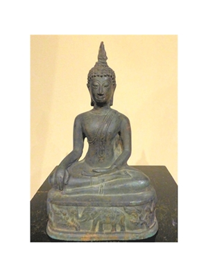 Seated Buddha in dhyasana and right hand in bhumispura posture Thai 20th century bronze