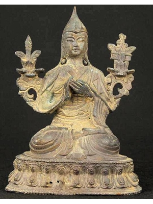 Tibetan bronze of Tsongkhapa (13571419), wearing a tall hat, seated on a lotus throne h 5.5""