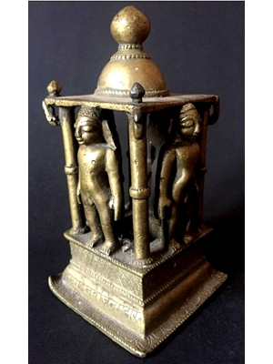 Very rare 18th century or earlier multiple Trithankaras in kayotsarga posture at a Jain bronze alter, 5.2""