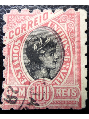 Brazil, Hermes, 100 Reis, red, 1894 used