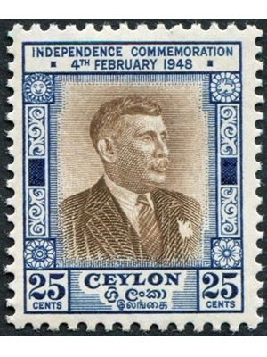 Ceylon D S Senanayake 5 Cents First Prime Minster Independence 1948 Independence Commerative Issue MINT