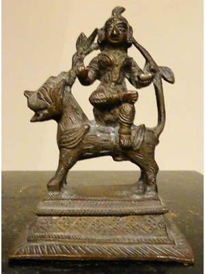 "A rare South East Asian bronze of Durga seated on her Vahana the lion, stented plinth with yantra motif. H 4.5"" x L 3.7"""