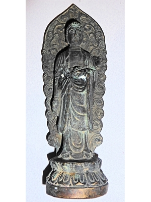 Chinese standing Buddha, bronze, folk-art, H 7  ca 19th century
