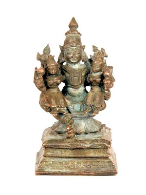 Seated Vishnu with his consorts Sri Devi and Bhu Devi, South Indian copper base bronze, 4.8x9.0 cm ca 19th century